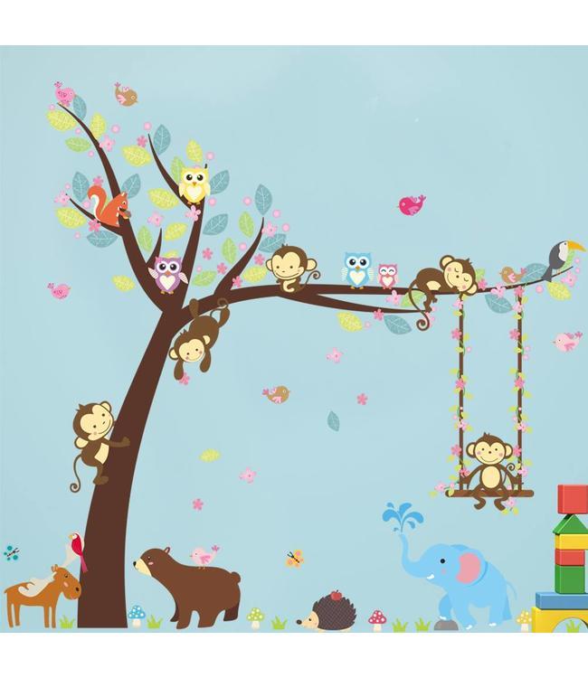 Muursticker Babykamer Boom Met Dieren.Muursticker Boom Met Aapjes Uiltjes En Andere Dieren