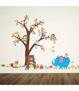 Muursticker boom met indianen diertjes