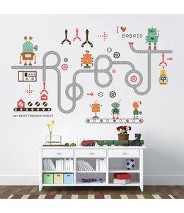 Muursticker I love robots