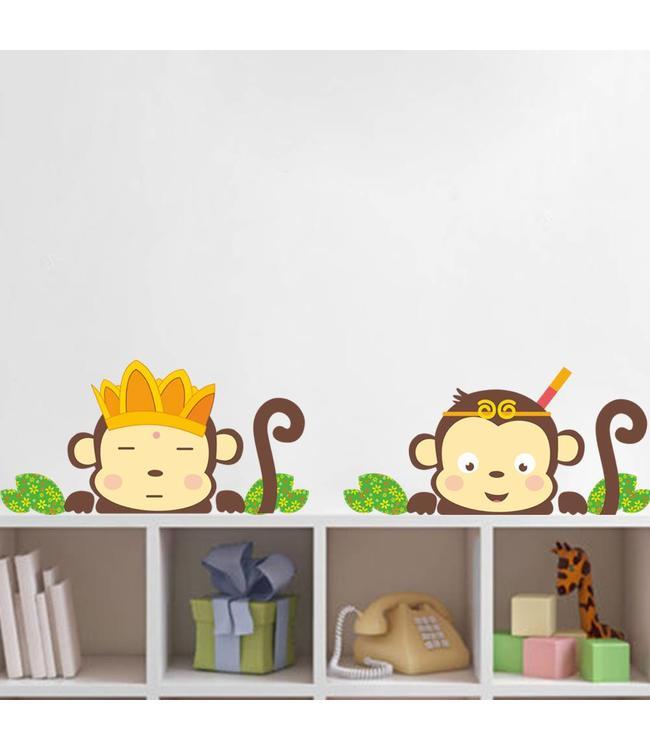 Muursticker twee aapjes