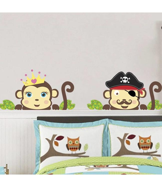 Muursticker piraat en prinsessen aapje