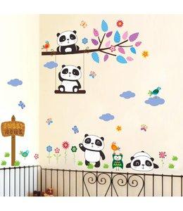 Muursticker speelse pandabeertjes