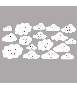 Muursticker wolkjes met gezichtjes