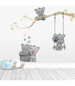 Muursticker tak met lieve beertjes grijs