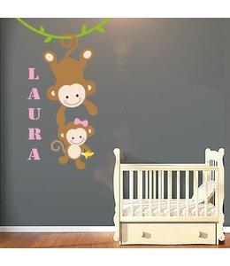 Muursticker aapjes met naam meisje