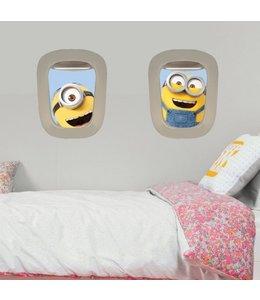 Muursticker minions kijken door vliegtuigraam