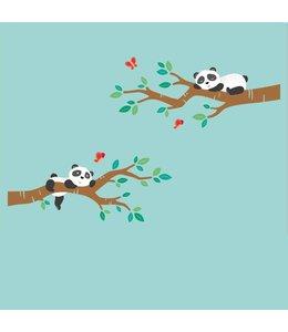 Muursticker twee takken met pandabeertjes