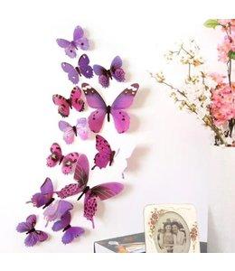 3D vlinders paars-roze