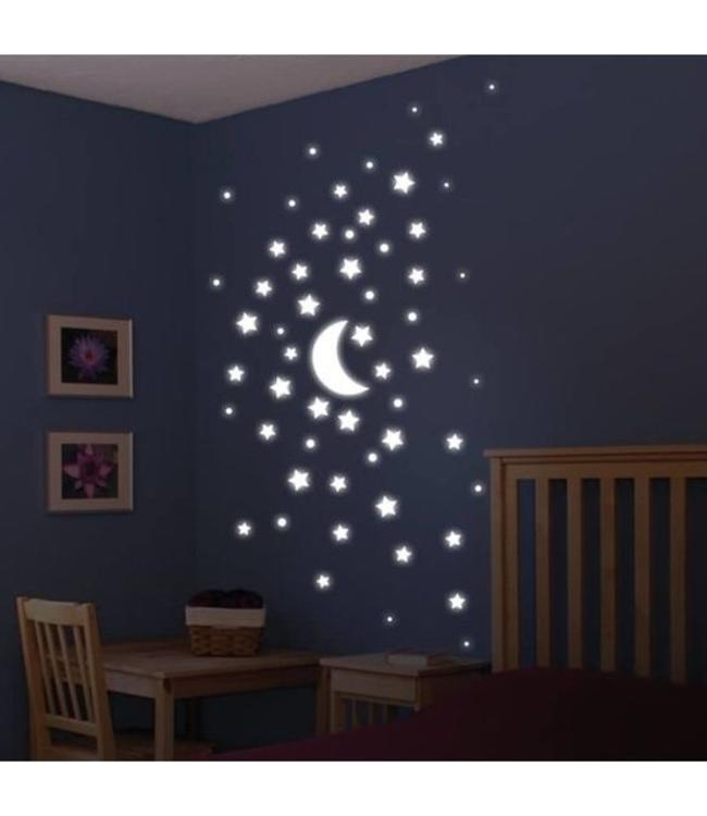 Muurstickers glow in the dark maan en sterren