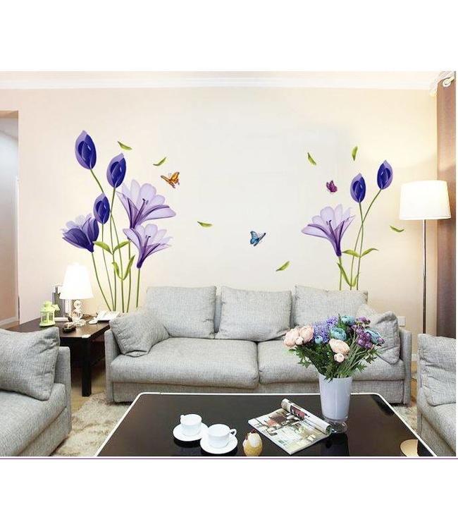 Muursticker mooie paarse bloemen