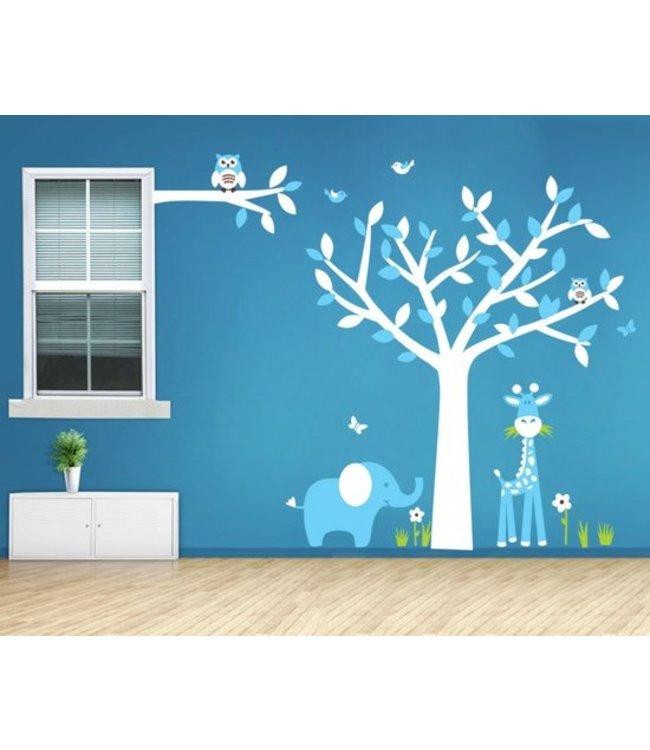 Muursticker witte boom met diertjes blauw