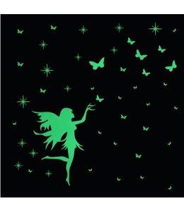 Muursticker glow in the dark elfje met vlinders
