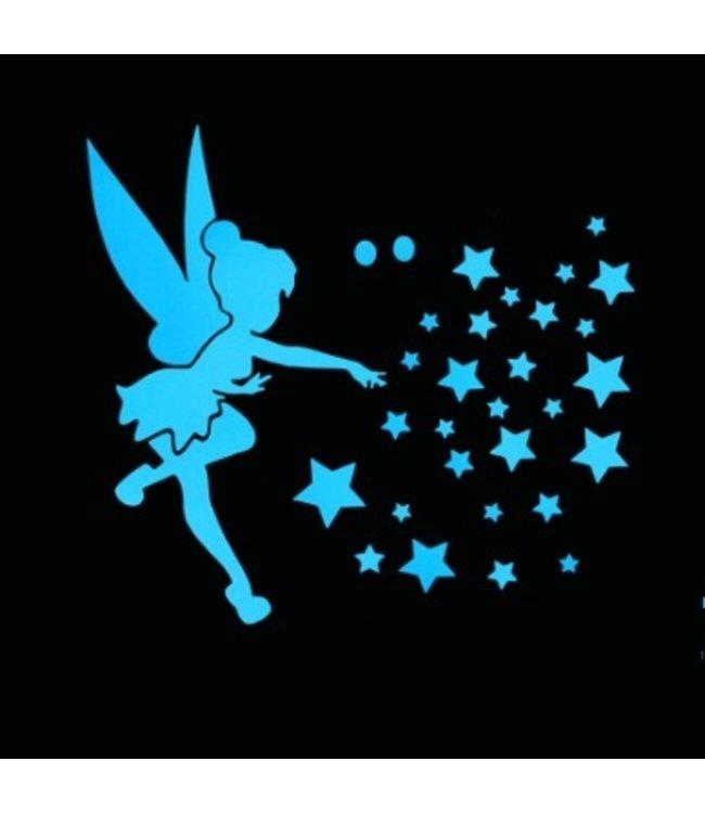 Muursticker glow in the dark vliegend elfje met sterren blauw