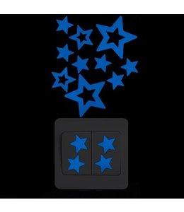 Muursticker glow in the dark sterretjes blauw
