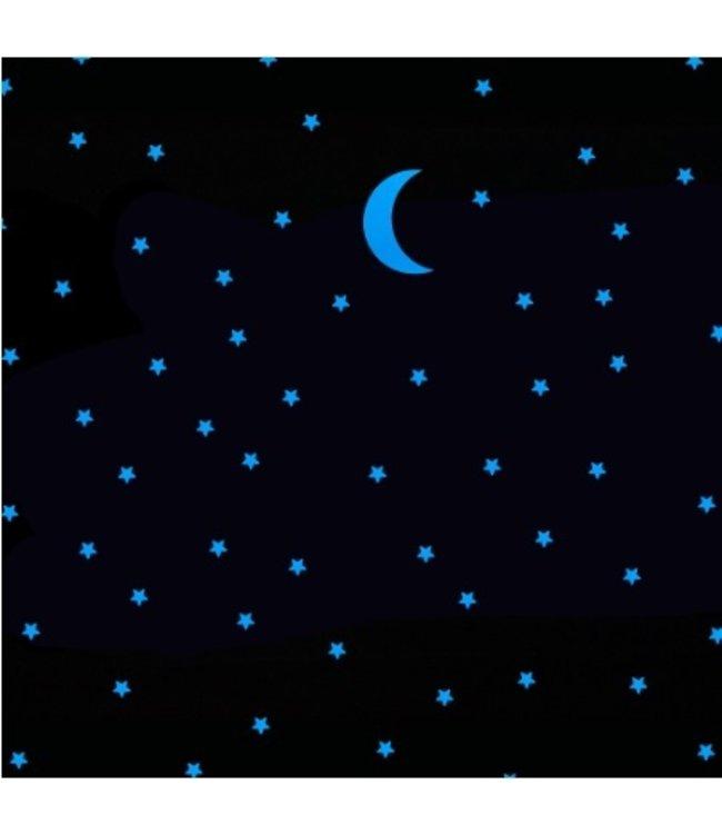 Muursticker glow in the dark maan met100 sterren blauw