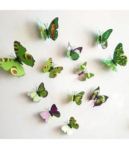 3D vlinders groen meerkleurig
