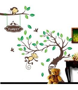 Muursticker boom met aapjes bos
