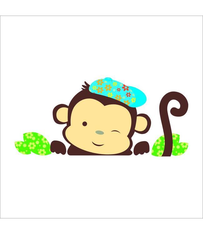 Muursticker schattig aapje jongen