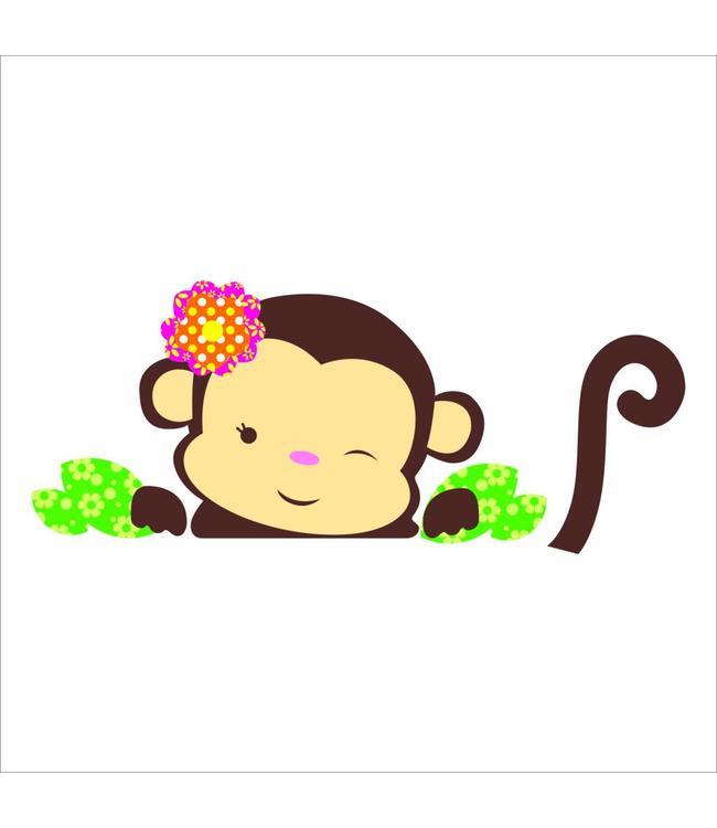 Muursticker schattig aapje meisje
