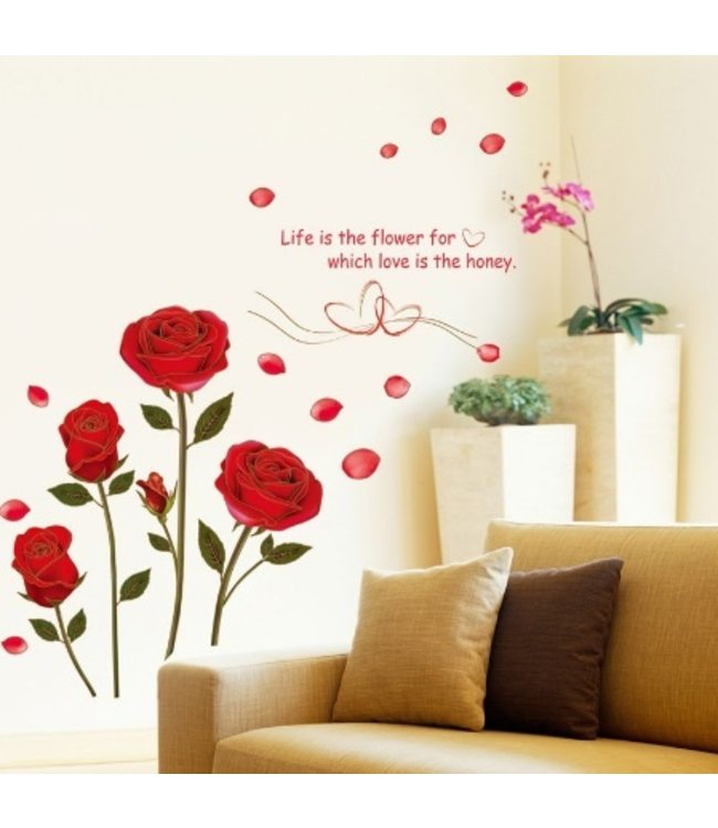 Muursticker mooie rode rozen