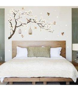Muursticker mooie  tak met vogels en vogelkooitjes