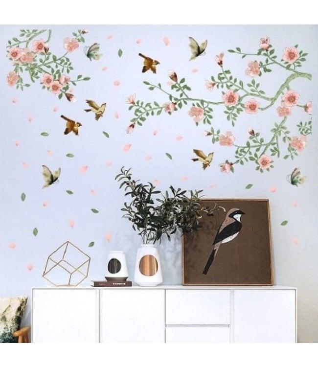 Muursticker bloemen tak met vogels