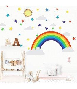 Muursticker regenboog met sterren