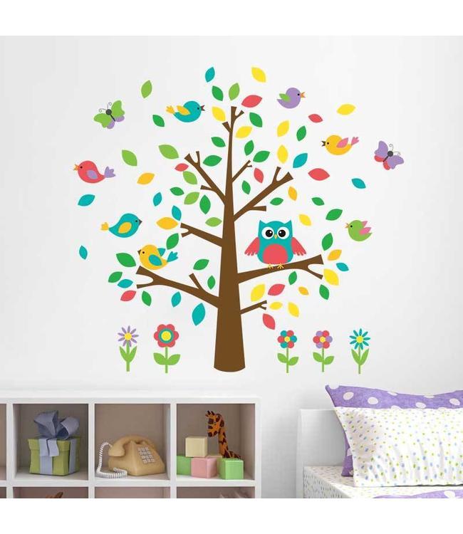 Muursticker kleurrijk boompje met uil en vogeltjes