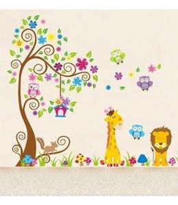 Muursticker sierlijke boom uil giraffe leeuw