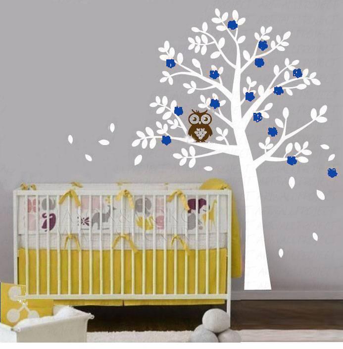 Accessoires Babykamer Uil.Muursticker Boom Met Uil Blauw Muurstickers Zo