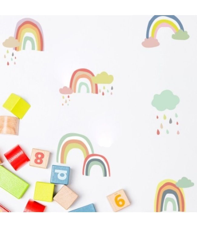 Muursticker vrolijke regenboog wolkjes