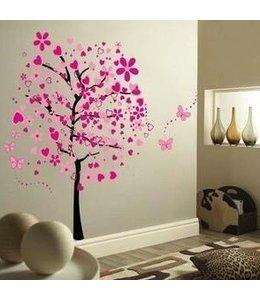 Muursticker grote roze boom