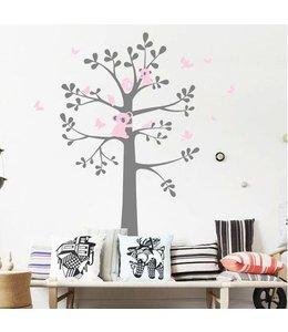 Muursticker boom koala beertjes grijs roze