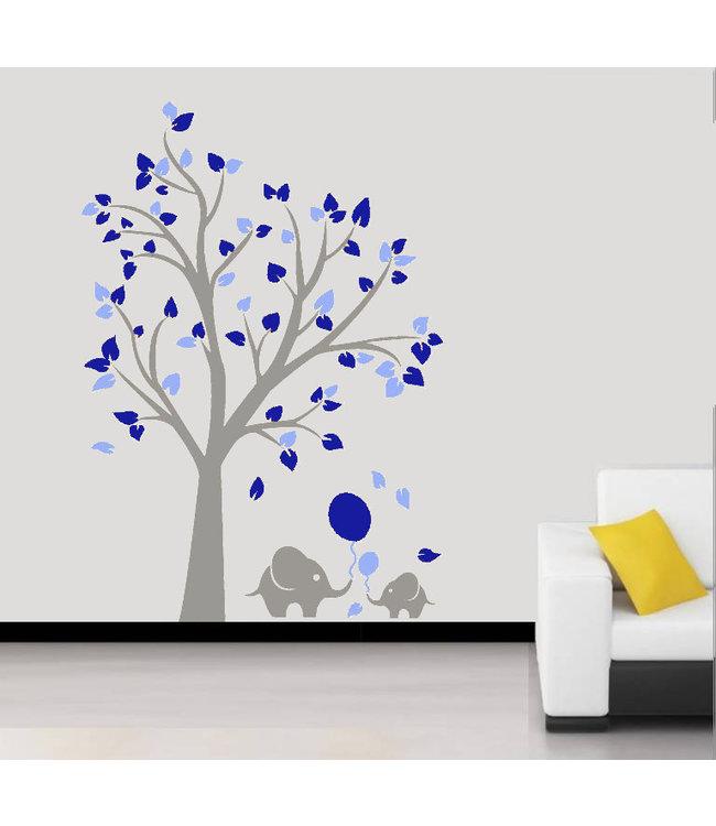 Muursticker grijze boom met blauwe blaadjes en olifantjes