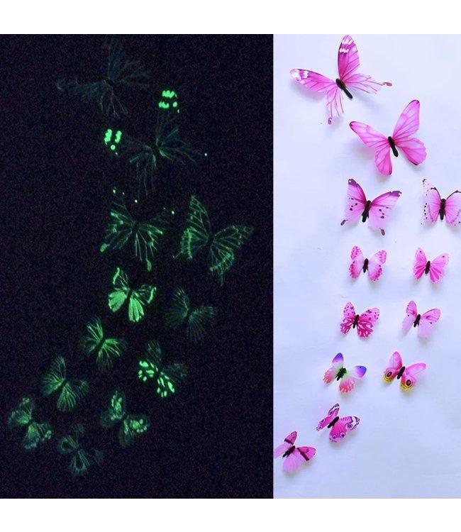 Glow in the dark 3D vlinders roze