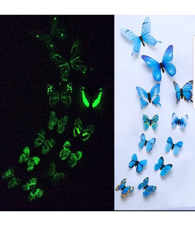 Glow in the dark 3D vlinders blauw