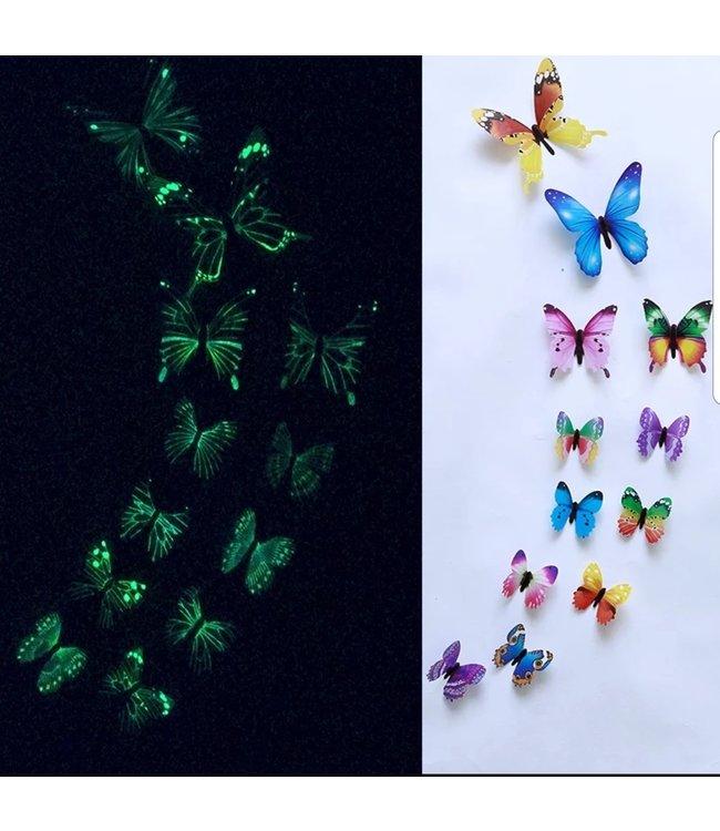 Glow in the dark 3D vlinders multi