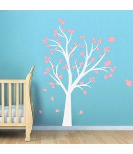 Muursticker witte boom met licht  roze blaadjes