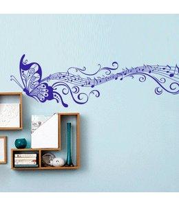 Muursticker mooie muziek vlinder blauw
