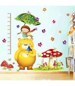 Muursticker groeimeter grote beer met paddenstoel