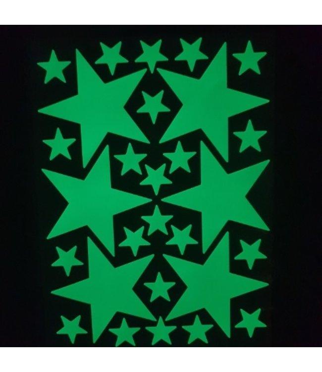 Muursticker glow in the dark sterren v5