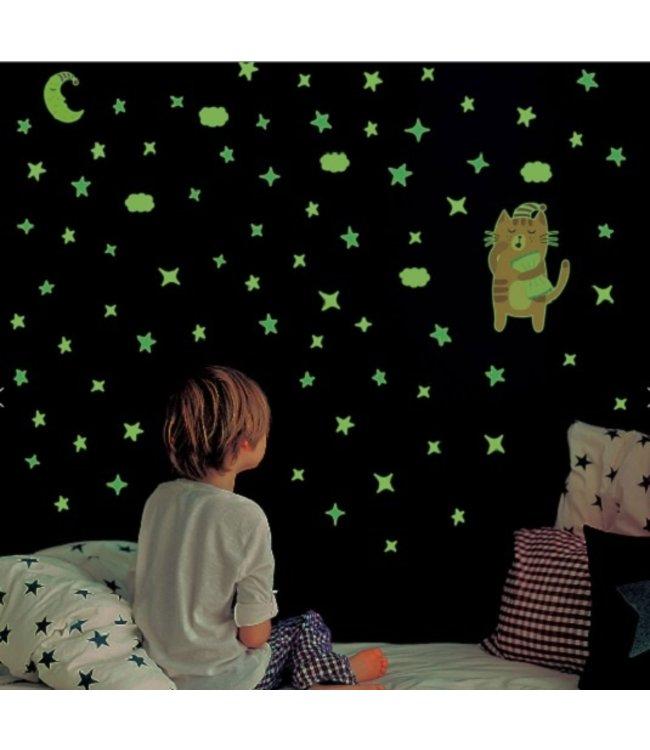 Muursticker schattig glow in the dark katje met sterren
