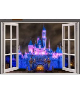 Muursticker open raam prachtig kasteel