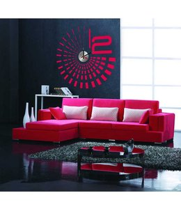 Muursticker klok design rood