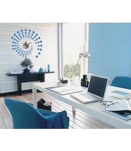 Muursticker klok design blauw