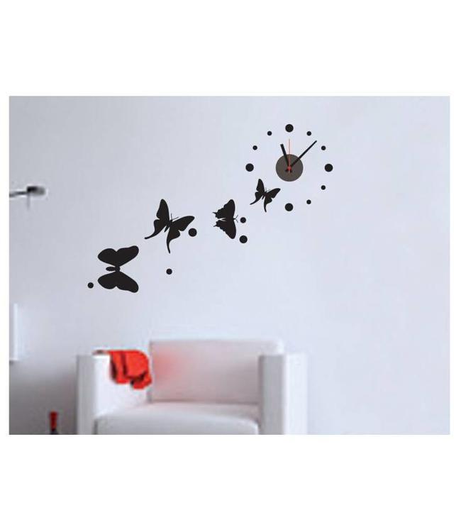 Muursticker klok met mooie zwarte vlinders