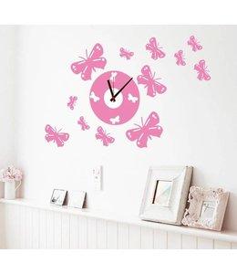 Muursticker klok roze vlinders