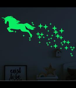 Muursticker glow in the dark eenhoorn met sterren