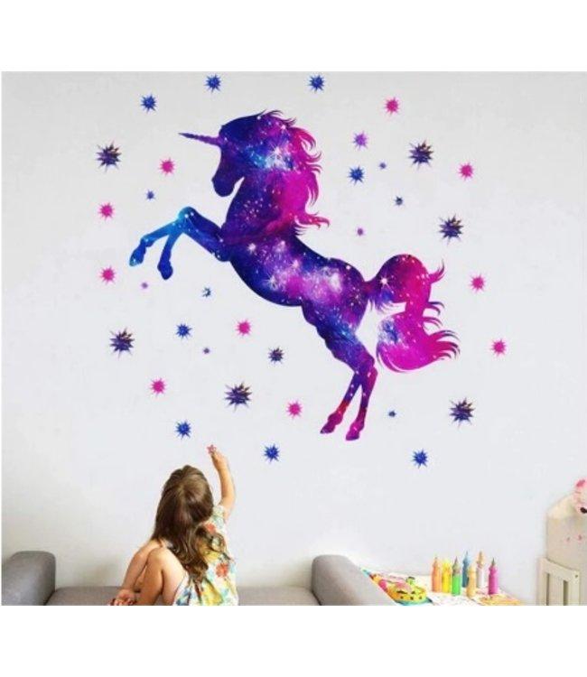 Muursticker eenhoorn paars-roze