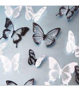 3D vlinders zwart/wit